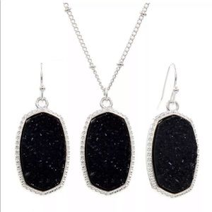 Black sparkly druzy silver necklace & earring set